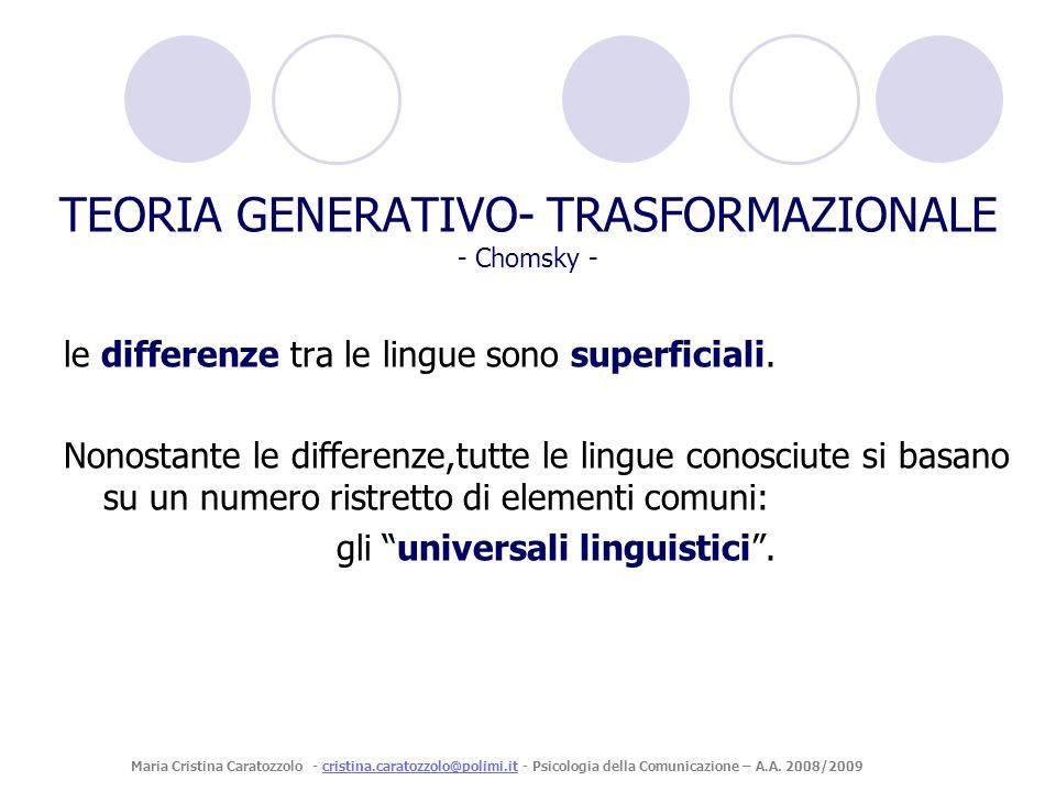 TEORIA GENERATIVO- TRASFORMAZIONALE - Chomsky - le differenze tra le lingue sono superficiali. Nonostante le differenze,tutte le lingue conosciute si
