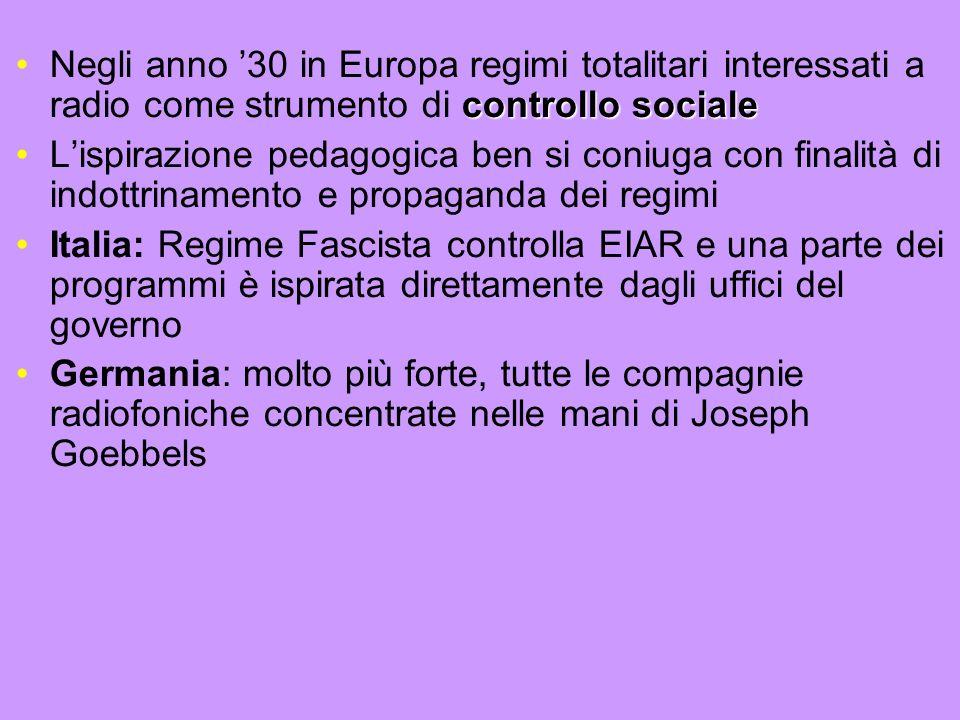 controllo socialeNegli anno 30 in Europa regimi totalitari interessati a radio come strumento di controllo sociale Lispirazione pedagogica ben si coni