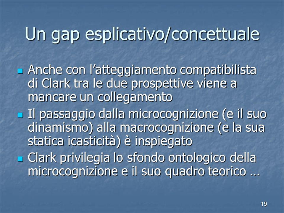 19 Un gap esplicativo/concettuale Anche con latteggiamento compatibilista di Clark tra le due prospettive viene a mancare un collegamento Anche con la