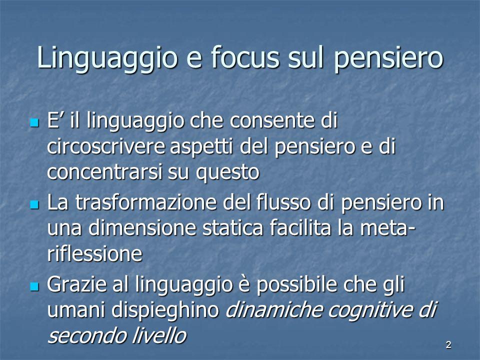 2 Linguaggio e focus sul pensiero E il linguaggio che consente di circoscrivere aspetti del pensiero e di concentrarsi su questo E il linguaggio che c