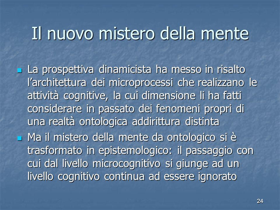 24 Il nuovo mistero della mente La prospettiva dinamicista ha messo in risalto larchitettura dei microprocessi che realizzano le attività cognitive, l