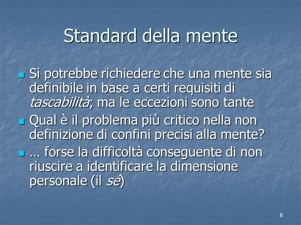 8 Standard della mente Si potrebbe richiedere che una mente sia definibile in base a certi requisiti di tascabilità; ma le eccezioni sono tante Si pot