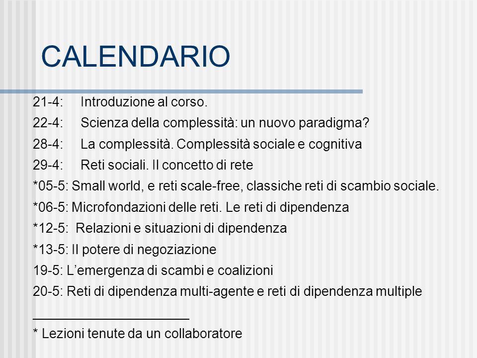 CALENDARIO 21-4: Introduzione al corso. 22-4: Scienza della complessità: un nuovo paradigma.