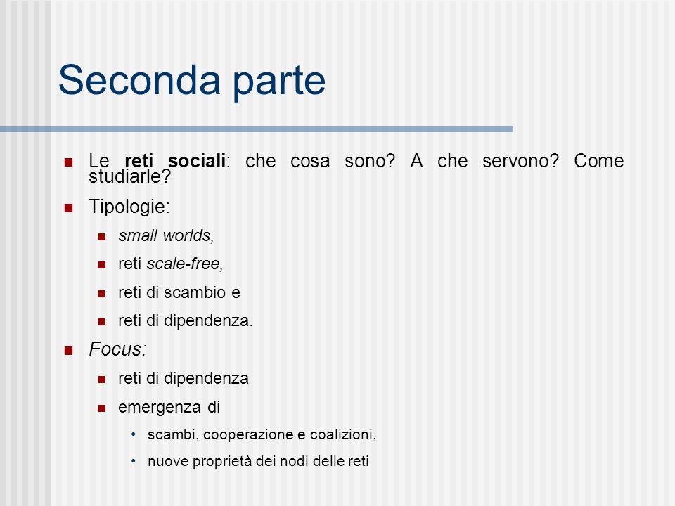 Seconda parte Le reti sociali: che cosa sono. A che servono.