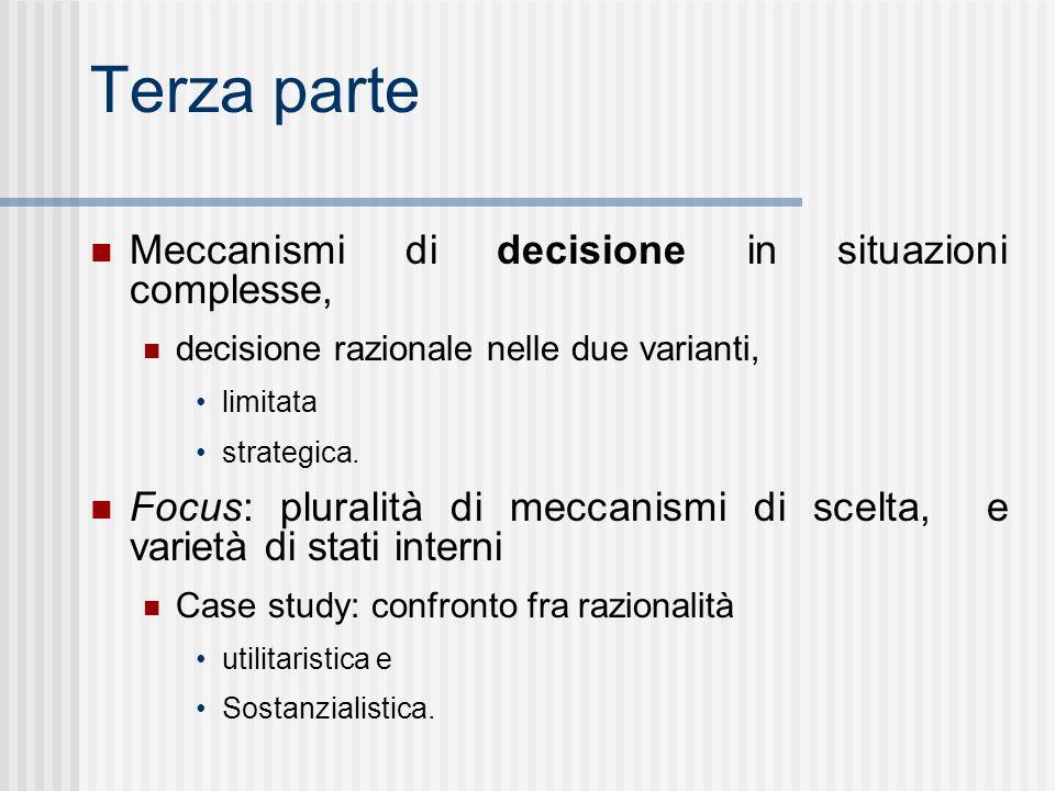 Terza parte Meccanismi di decisione in situazioni complesse, decisione razionale nelle due varianti, limitata strategica.