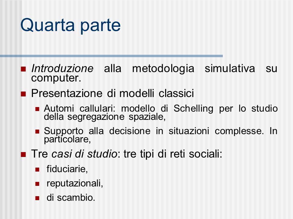 Quarta parte Introduzione alla metodologia simulativa su computer.