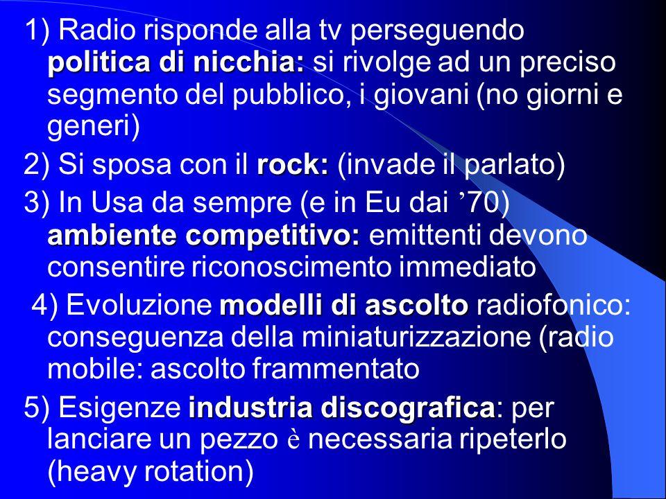 politica di nicchia: 1) Radio risponde alla tv perseguendo politica di nicchia: si rivolge ad un preciso segmento del pubblico, i giovani (no giorni e generi) rock: 2) Si sposa con il rock: (invade il parlato) ambiente competitivo: 3) In Usa da sempre (e in Eu dai 70) ambiente competitivo: emittenti devono consentire riconoscimento immediato modellidi ascolto 4) Evoluzione modelli di ascolto radiofonico: conseguenza della miniaturizzazione (radio mobile: ascolto frammentato industria discografica 5) Esigenze industria discografica: per lanciare un pezzo è necessaria ripeterlo (heavy rotation)