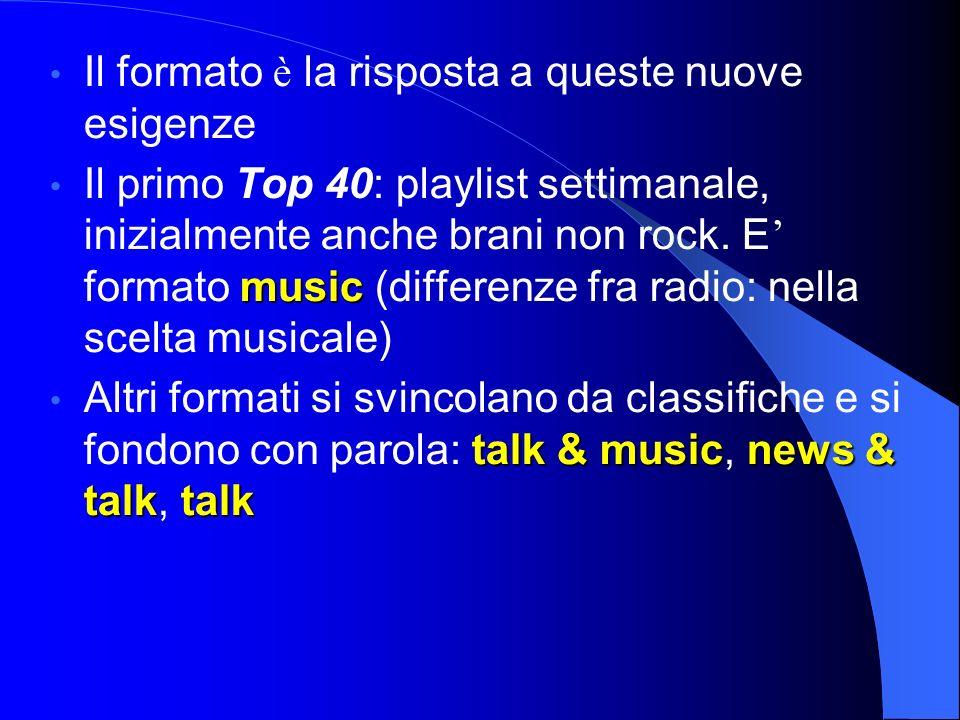 Il formato è la risposta a queste nuove esigenze music Il primo Top 40: playlist settimanale, inizialmente anche brani non rock.