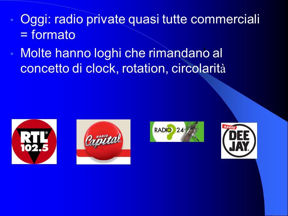 Oggi: radio private quasi tutte commerciali = formato Molte hanno loghi che rimandano al concetto di clock, rotation, circolarit à