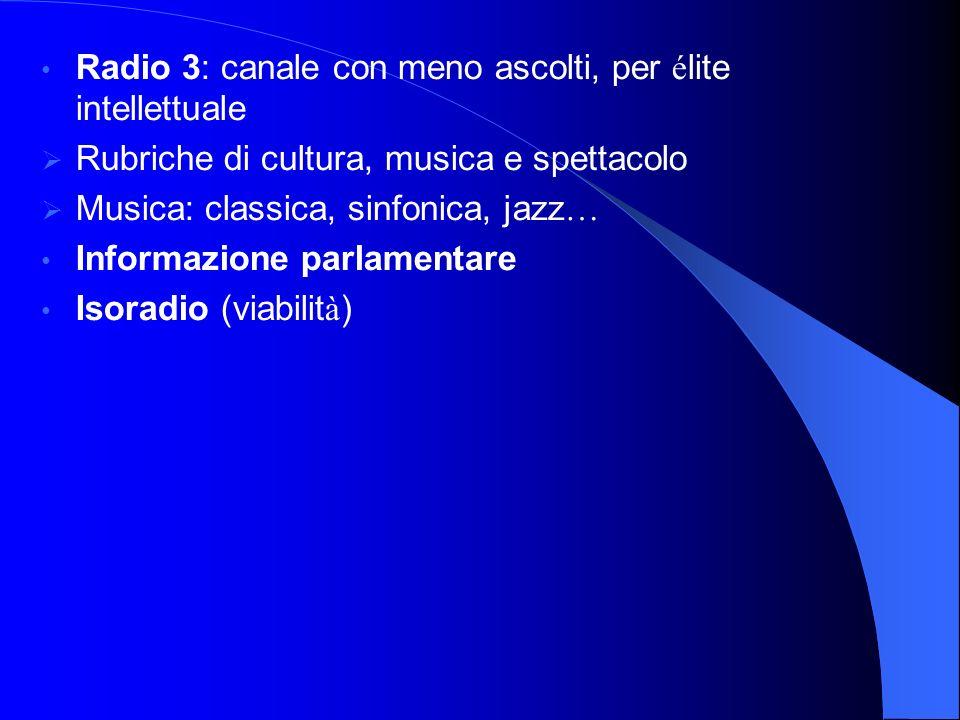 Radio 3: canale con meno ascolti, per é lite intellettuale Rubriche di cultura, musica e spettacolo Musica: classica, sinfonica, jazz … Informazione parlamentare Isoradio (viabilit à )