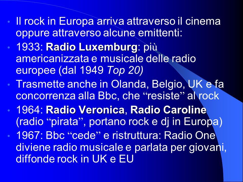 Il rock in Europa arriva attraverso il cinema oppure attraverso alcune emittenti: Radio Luxemburg 1933: Radio Luxemburg: pi ù americanizzata e musicale delle radio europee (dal 1949 Top 20) Trasmette anche in Olanda, Belgio, UK e fa concorrenza alla Bbc, che resiste al rock Radio VeronicaRadio Caroline 1964: Radio Veronica, Radio Caroline (radio pirata, portano rock e dj in Europa) 1967: Bbc cede e ristruttura: Radio One diviene radio musicale e parlata per giovani, diffonde rock in UK e EU
