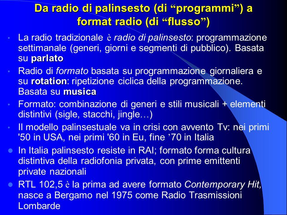 Da radio di palinsesto (di programmi ) a format radio (di flusso ) parlato La radio tradizionale è radio di palinsesto: programmazione settimanale (generi, giorni e segmenti di pubblico).