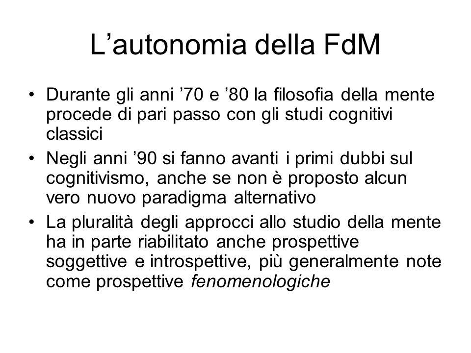 Lautonomia della FdM Durante gli anni 70 e 80 la filosofia della mente procede di pari passo con gli studi cognitivi classici Negli anni 90 si fanno a
