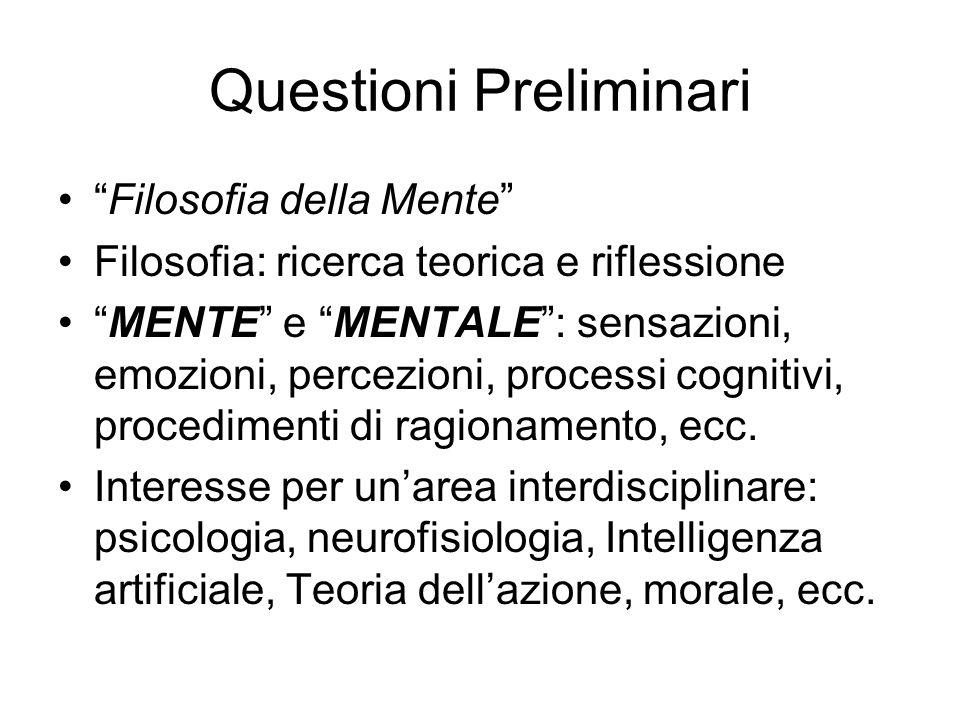 Questioni Preliminari Filosofia della Mente Filosofia: ricerca teorica e riflessione MENTE e MENTALE: sensazioni, emozioni, percezioni, processi cogni