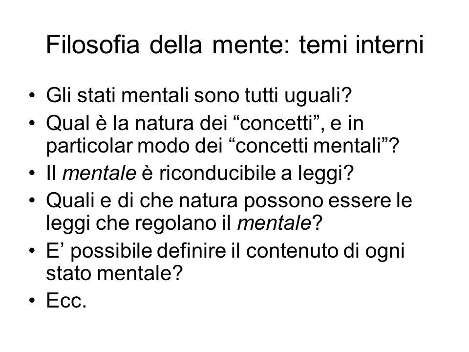 Filosofia della mente: temi interni Gli stati mentali sono tutti uguali? Qual è la natura dei concetti, e in particolar modo dei concetti mentali? Il