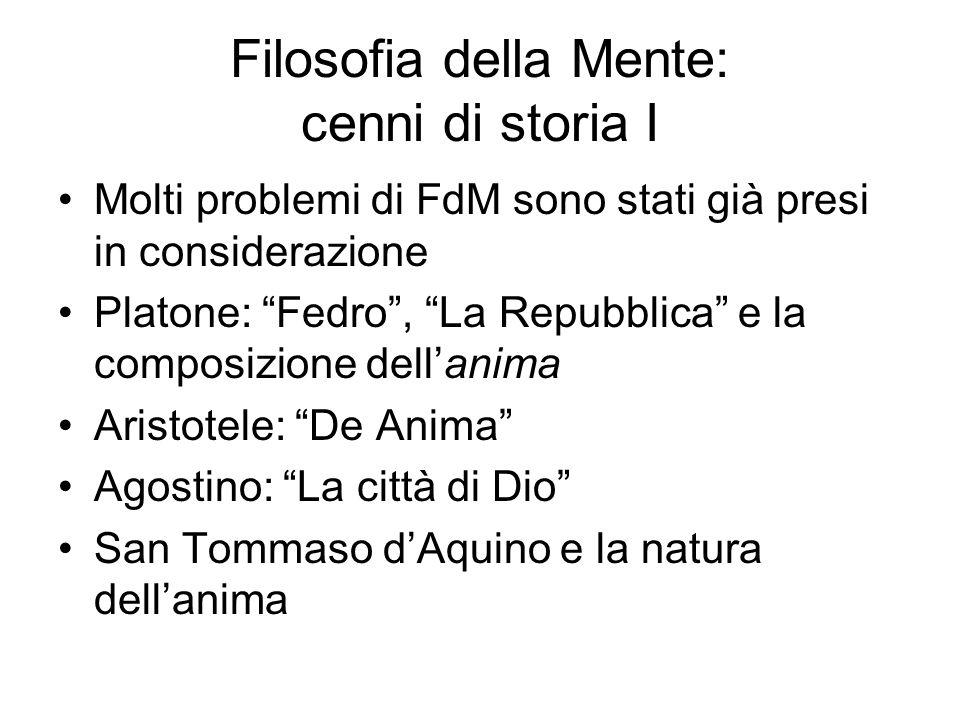 Filosofia della Mente: cenni di storia I Molti problemi di FdM sono stati già presi in considerazione Platone: Fedro, La Repubblica e la composizione