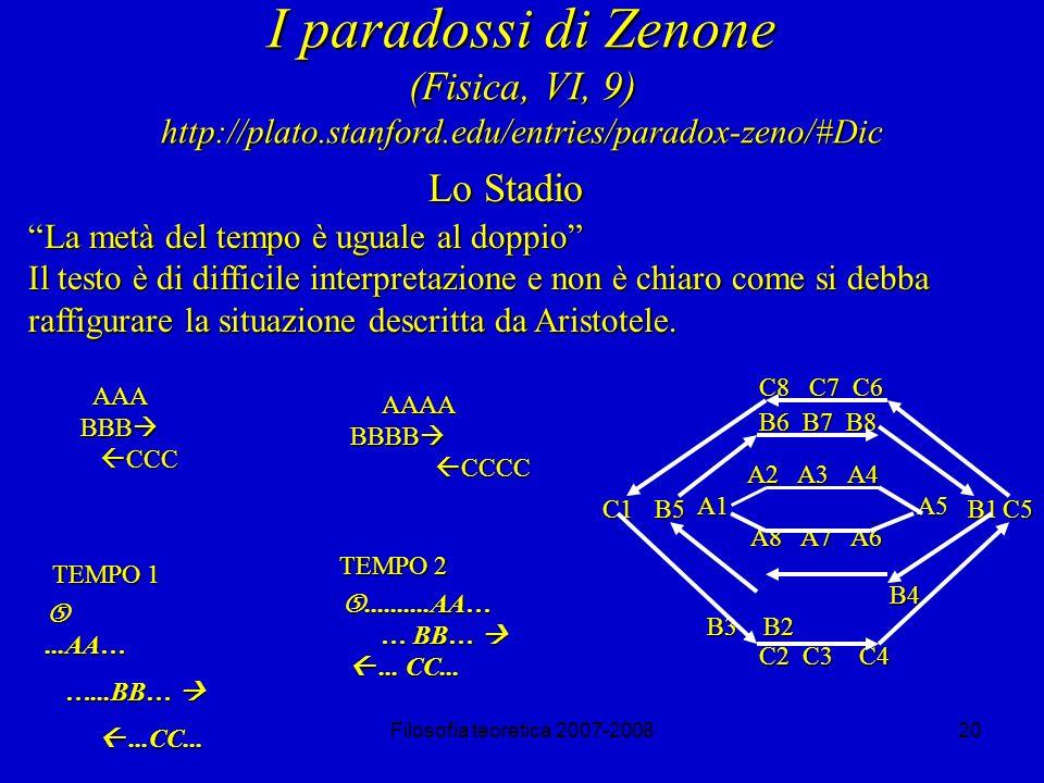 Filosofia teoretica 2007-200820 I paradossi di Zenone (Fisica, VI, 9) http://plato.stanford.edu/entries/paradox-zeno/#Dic Lo Stadio La metà del tempo è uguale al doppio Il testo è di difficile interpretazione e non è chiaro come si debba raffigurare la situazione descritta da Aristotele.