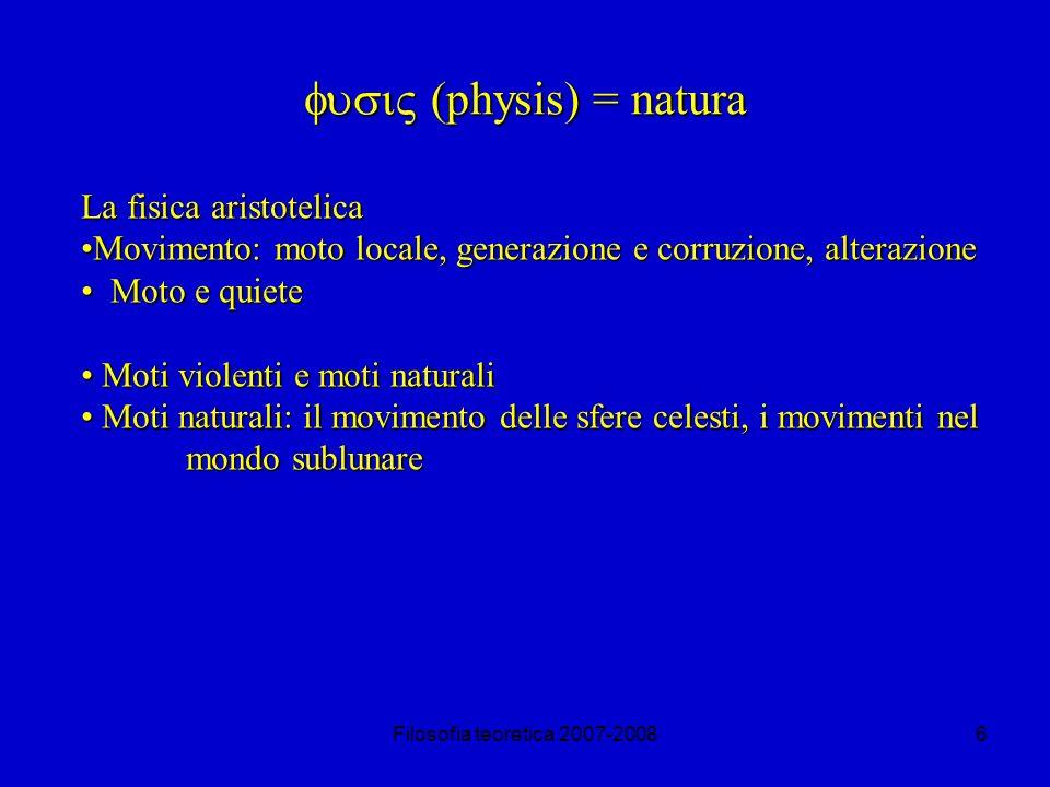Filosofia teoretica 2007-200827 Le critiche di Aristotele a Zenone Infatti nellipotesi che il primo B, mentre incrocia un A, incroci anche 2 C, allora, mentre incrocia un C, esso dovrebbe incrociare un ½ A.
