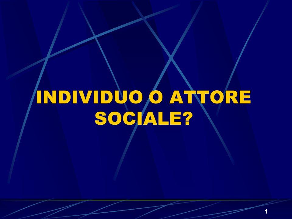 1 INDIVIDUO O ATTORE SOCIALE