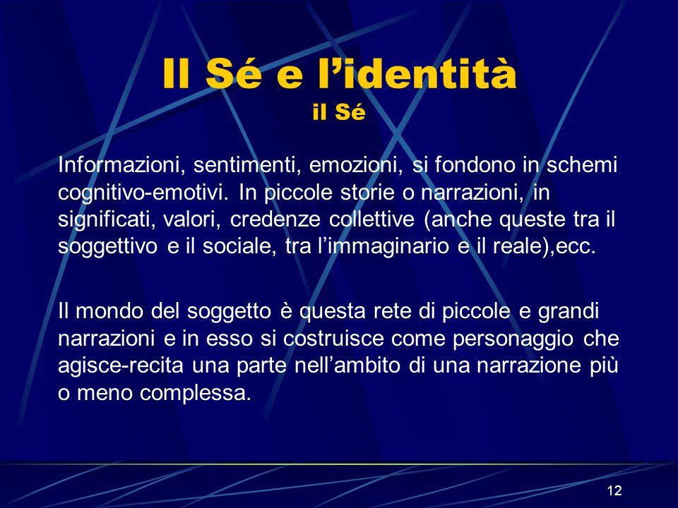 12 Il Sé e lidentità il Sé Informazioni, sentimenti, emozioni, si fondono in schemi cognitivo-emotivi.
