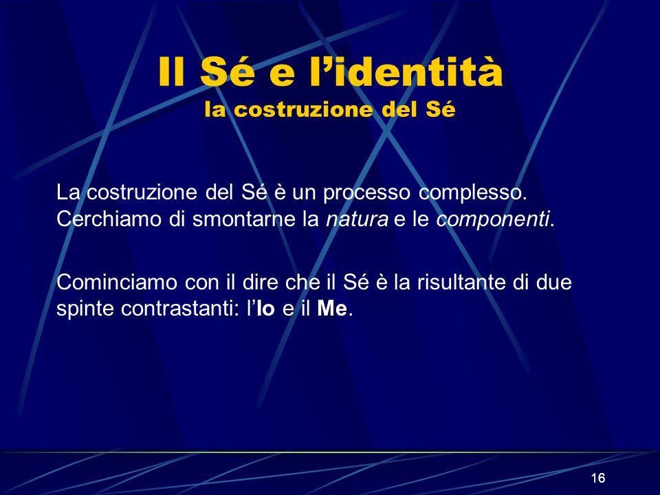 16 Il Sé e lidentità la costruzione del Sé La costruzione del Sé è un processo complesso.
