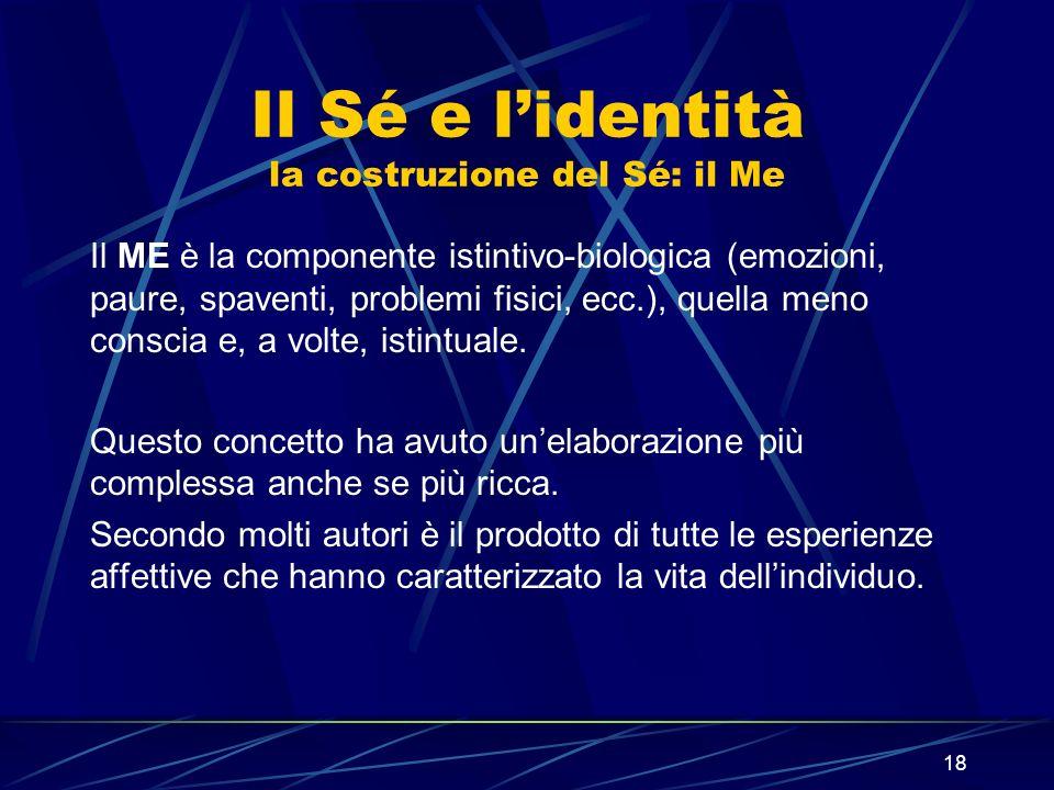18 Il Sé e lidentità la costruzione del Sé: il Me Il ME è la componente istintivo-biologica (emozioni, paure, spaventi, problemi fisici, ecc.), quella meno conscia e, a volte, istintuale.