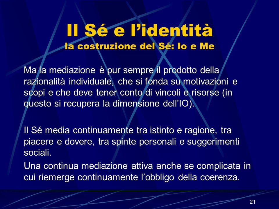 21 Il Sé e lidentità la costruzione del Sé: Io e Me Ma la mediazione è pur sempre il prodotto della razionalità individuale, che si fonda su motivazioni e scopi e che deve tener conto di vincoli e risorse (in questo si recupera la dimensione dellIO).