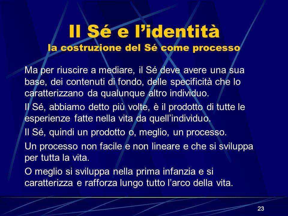 23 Il Sé e lidentità la costruzione del Sé come processo Ma per riuscire a mediare, il Sé deve avere una sua base, dei contenuti di fondo, delle specificità che lo caratterizzano da qualunque altro individuo.