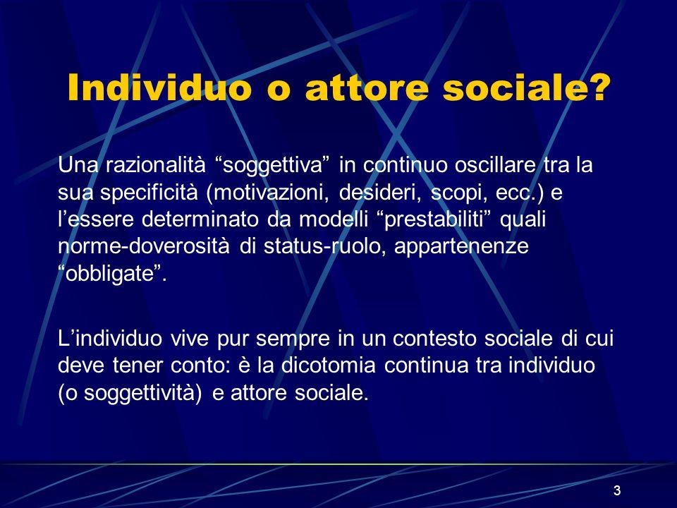 3 Individuo o attore sociale.