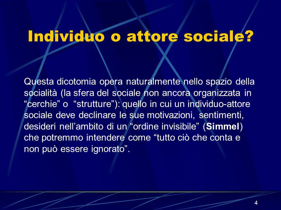 4 Individuo o attore sociale.
