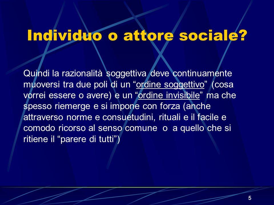 5 Individuo o attore sociale.