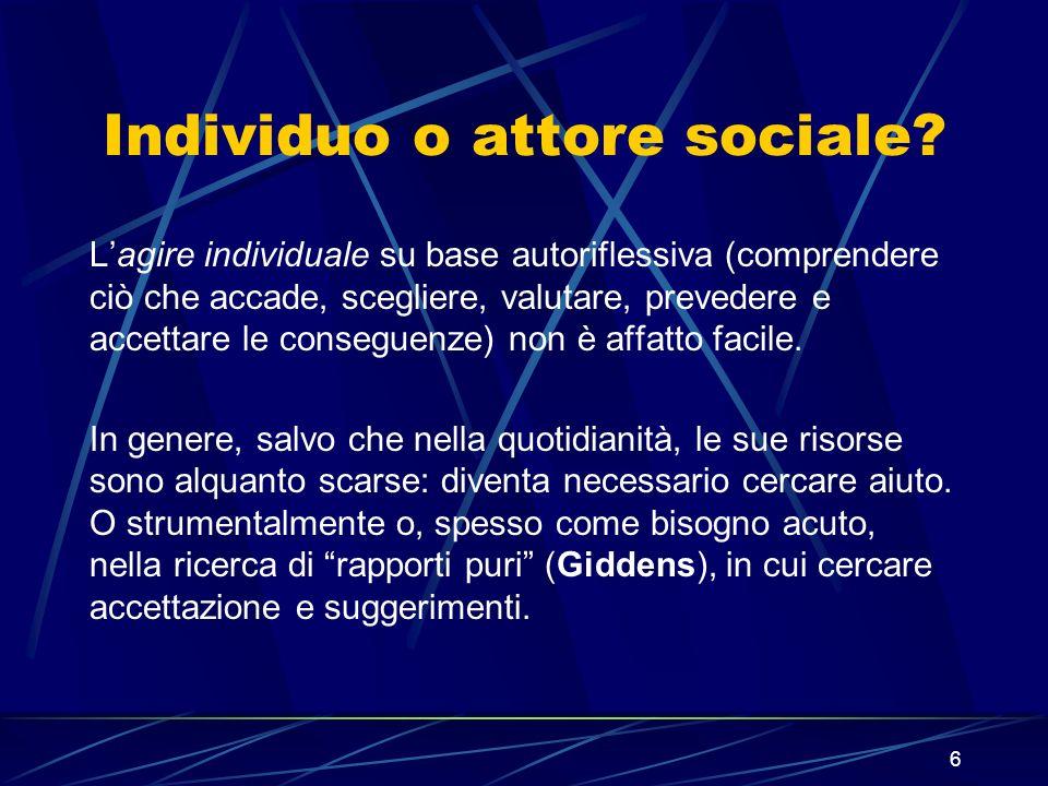7 INDIVIDUO E ATTORE SOCIALE: il Sé e lidentità