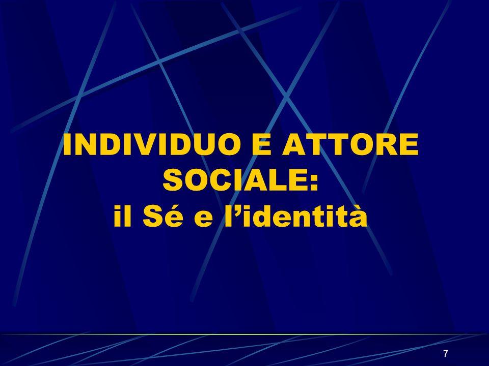 8 Il Sé e lidentità E necessario, quindi, lavorare su due termini: lindividuo e la società.
