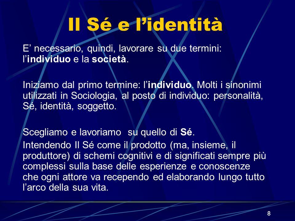 9 Il Sé e lidentità il Sé E lagire sociale che si fonda sul progetto individuale che ognuno –più o meno coscientemente- tende a costruirsi.
