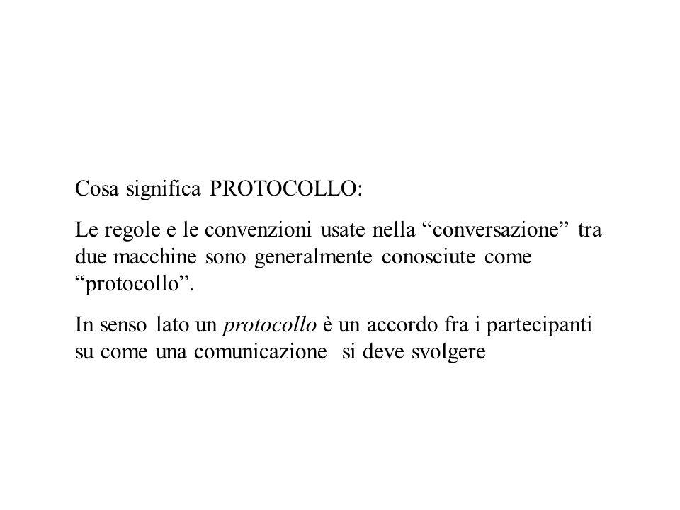 Cosa significa PROTOCOLLO: Le regole e le convenzioni usate nella conversazione tra due macchine sono generalmente conosciute come protocollo. In sens