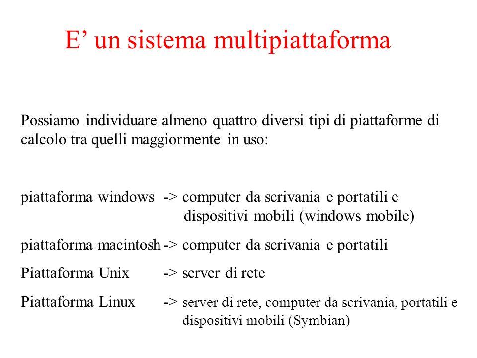 E un sistema multipiattaforma Possiamo individuare almeno quattro diversi tipi di piattaforme di calcolo tra quelli maggiormente in uso: piattaforma w