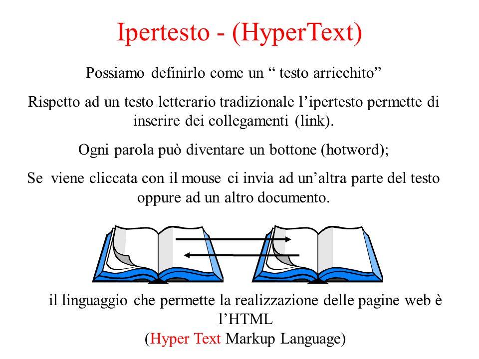 Ipertesto - (HyperText) Possiamo definirlo come un testo arricchito Rispetto ad un testo letterario tradizionale lipertesto permette di inserire dei c