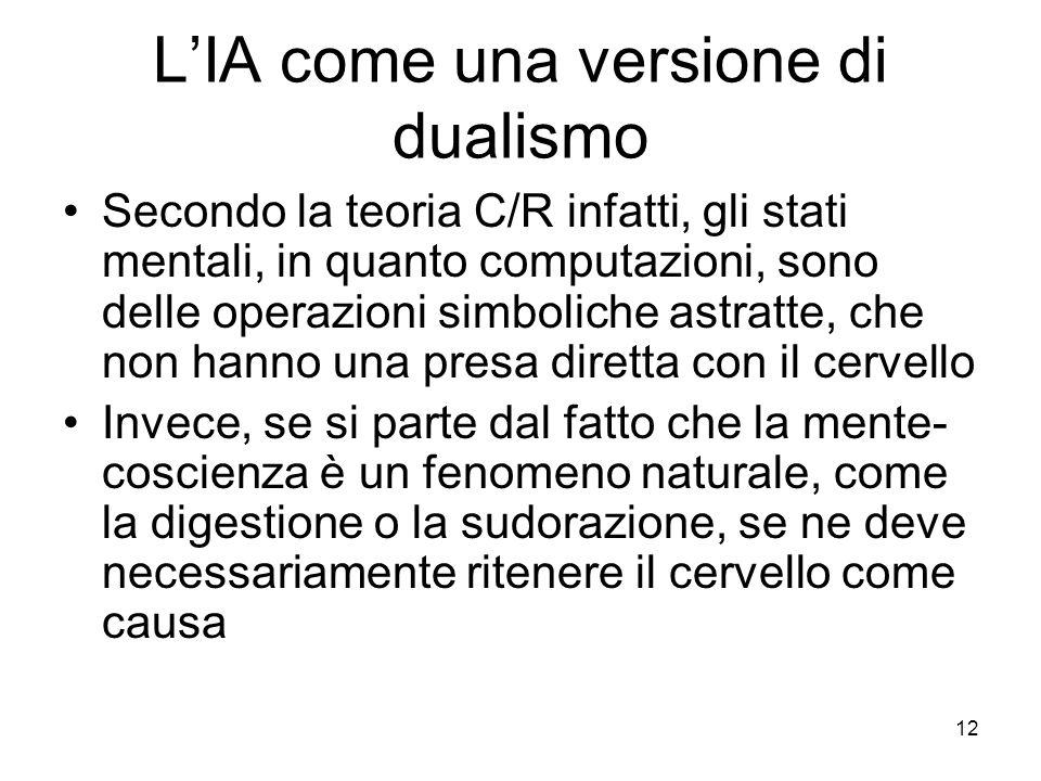 12 LIA come una versione di dualismo Secondo la teoria C/R infatti, gli stati mentali, in quanto computazioni, sono delle operazioni simboliche astrat