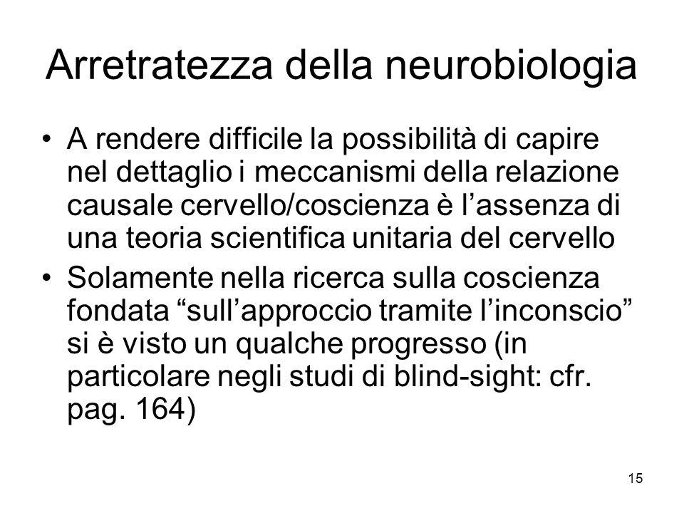 15 Arretratezza della neurobiologia A rendere difficile la possibilità di capire nel dettaglio i meccanismi della relazione causale cervello/coscienza