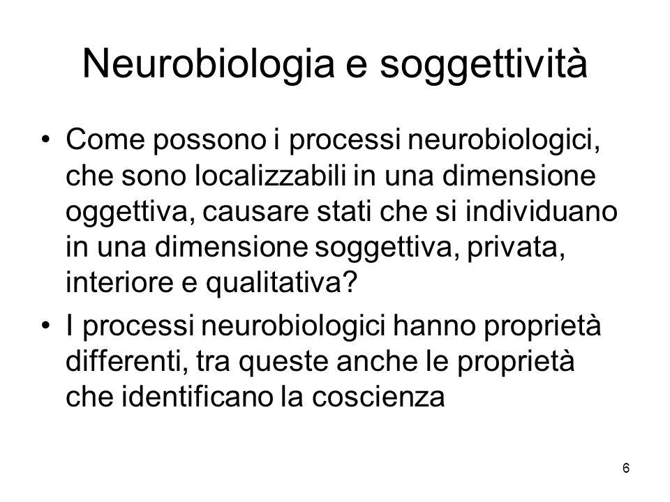 6 Neurobiologia e soggettività Come possono i processi neurobiologici, che sono localizzabili in una dimensione oggettiva, causare stati che si indivi