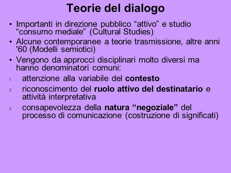 Teorie del dialogo Importanti in direzione pubblico attivo e studio consumo mediale (Cultural Studies) Alcune contemporanee a teorie trasmissione, altre anni 60 (Modelli semiotici) Vengono da approcci disciplinari molto diversi ma hanno denominatori comuni: 1.