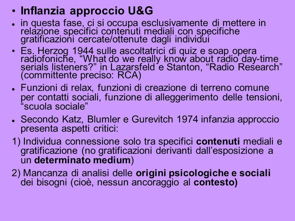 InfIanzia approccio U&G in questa fase, ci si occupa esclusivamente di mettere in relazione specifici contenuti mediali con specifiche gratificazioni cercate/ottenute dagli individui Es.