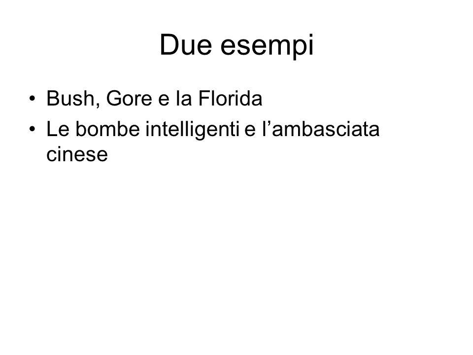 Due esempi Bush, Gore e la Florida Le bombe intelligenti e lambasciata cinese