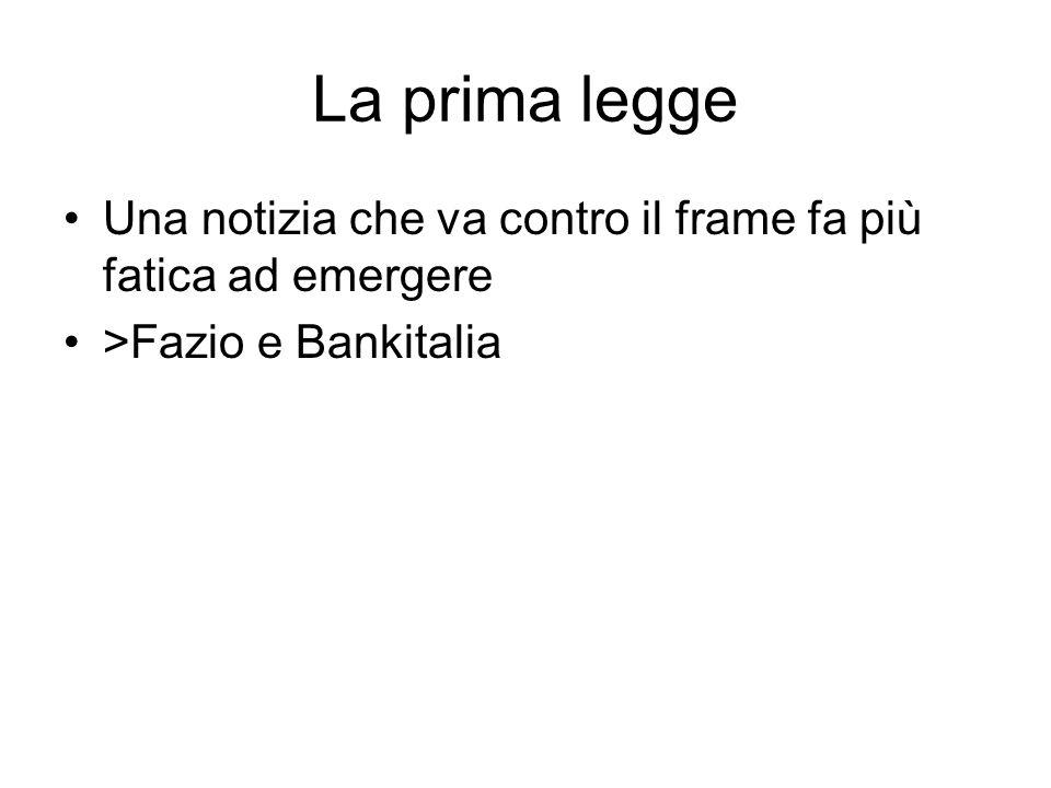 La prima legge Una notizia che va contro il frame fa più fatica ad emergere >Fazio e Bankitalia