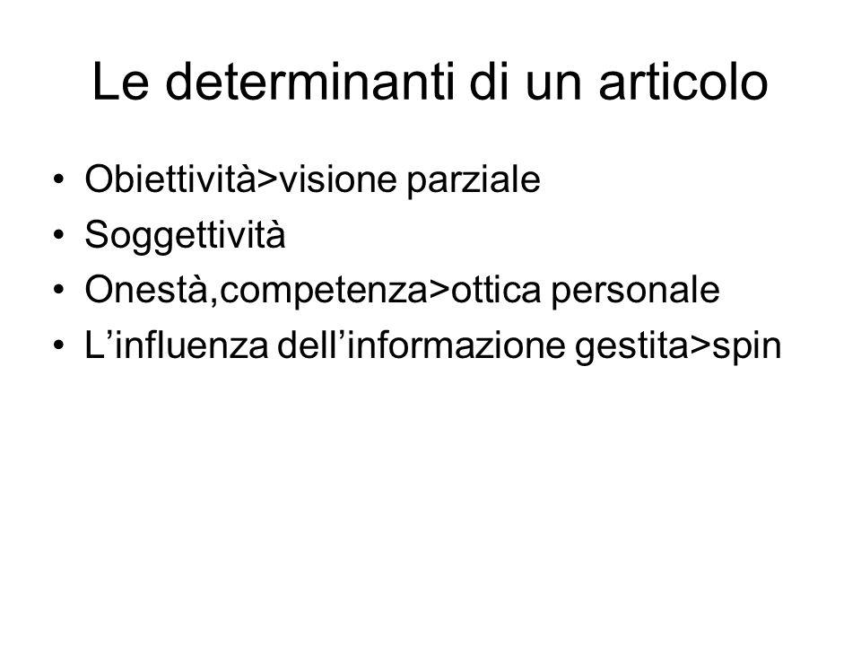 Le determinanti di un articolo Obiettività>visione parziale Soggettività Onestà,competenza>ottica personale Linfluenza dellinformazione gestita>spin