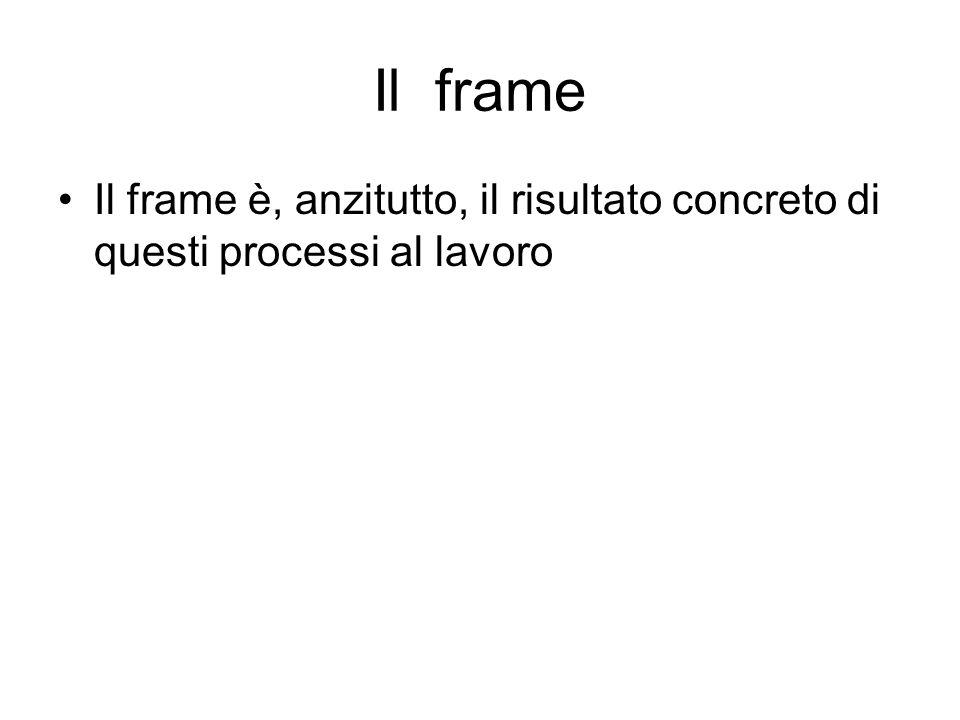 Il frame Il frame è, anzitutto, il risultato concreto di questi processi al lavoro