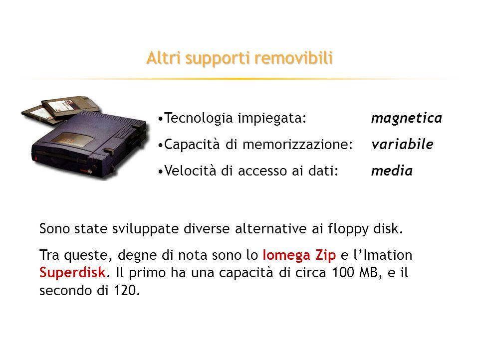 I dischetti (floppy disk) Tecnologia impiegata:magnetica Capacità di memorizzazione:1,44 MB Velocità di accesso ai dati:bassa Supporti removibili, introdotti nel 1971 nel formato a 8.
