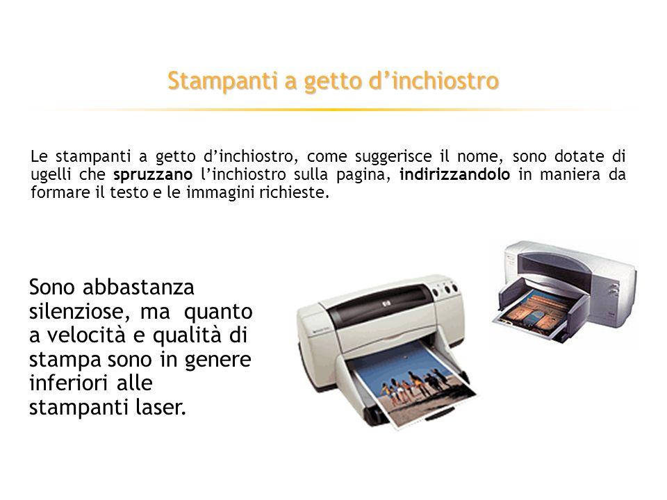 Stampanti ad aghi Le stampanti ad aghi sfruttano l impatto di una griglia di aghi contro un nastro inchiostrato, trasferendo così l inchiostro sulla carta.