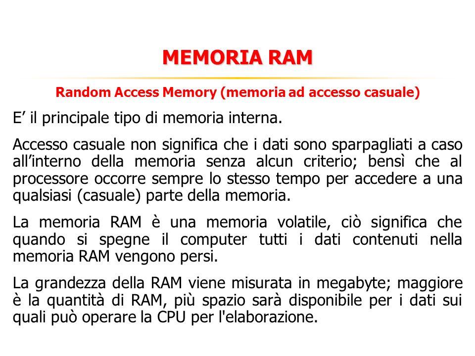 MEMORIE Nella memoria vengono archiviati tutti i dati che sono poi elaborati dalla CPU. Si distingue in: MEMORIA INTERNA (O PRIMARIA) Formata da micro