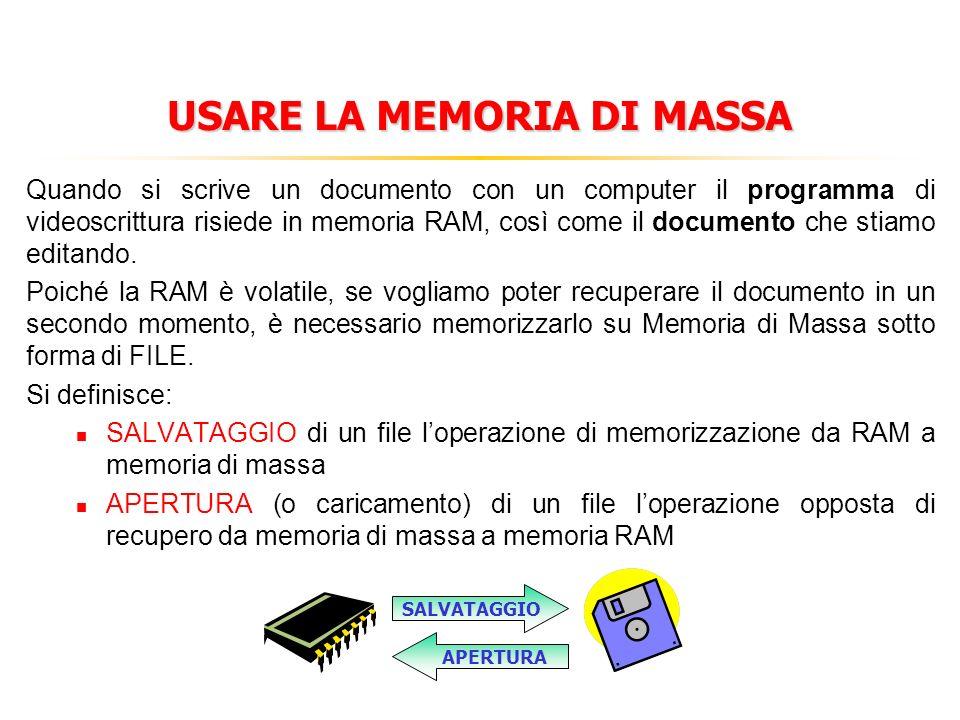 MEMORIE DI MASSA 1. più lente di quella primaria 2. permanenti 3. tecnologie ottiche o magnetiche